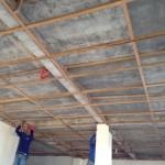 天井張り今日の作業開始時。