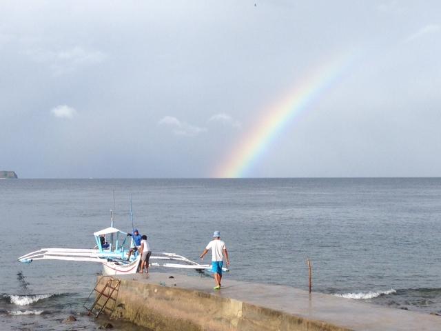 バンカーボートと虹