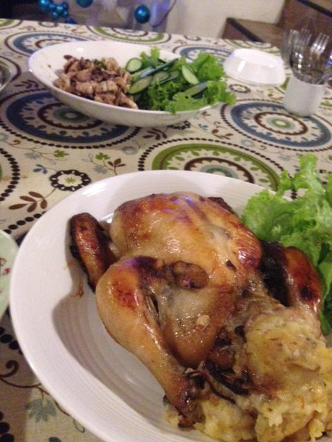 クリスマスの晩餐ローストチキン