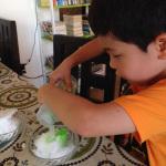 かき氷にメロンシロップ
