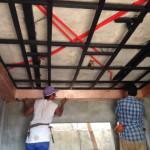 25日、1階天井作成。