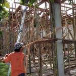 拡張ダイニングの梁の型を作るためにココヤシ材を搬入。