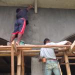 拡張ダイニング外壁の仕上げ。