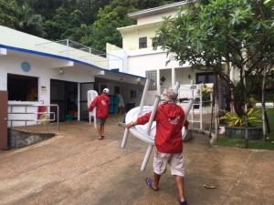 台風21号前準備